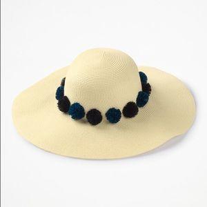 Boden Pompom Sun Hat China Blue/Navy Pom